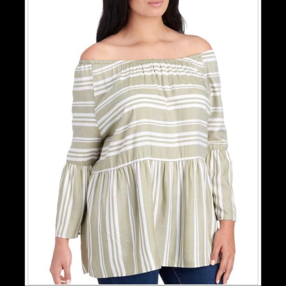 69b49cca955 Como Blu Tops | Nwt Striped Bell Sleeve Blouse | Poshmark